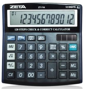 Calculadora de Mesa ZETA ZT-716 - 12 dígitos, solar/bateria, função com 120 passos de check/correct