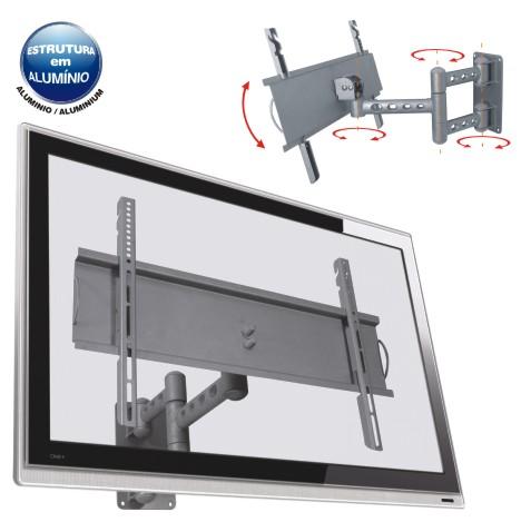 Suporte de Parede Articulado para Tvs de 32 a 52 Alumínio Multivisão Stpa68 Prata