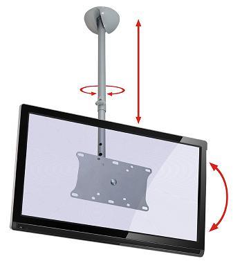 Suporte de Teto com Inclinação para Tvs até 32 Altura Regulável Multivisão Sky31 Prata
