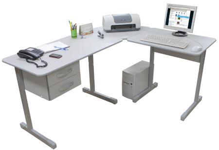 Mesa Secretária em L Kit Office 4000 Cinza com Gavetas