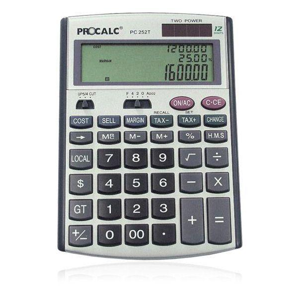 Calculadora de Mesa Procalc PC252T - 12 díg., 3 linhas visor, solar/bat., cálc. de tempo, custo, margem, venda, conv. Moeda (G13)