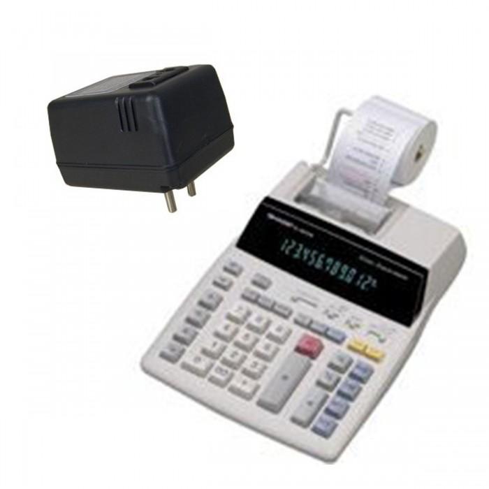 Calculadora Sharp El1801V B e Conversor Bivolt 12 Díg Visor Impressora Rolete Bicolor