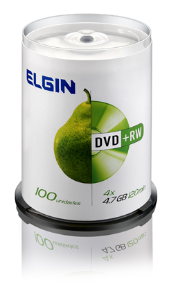 MIDIA DVD+ RW ELGIN VEL. 4X 4,7GB C/ 100 UNID. CAKE - REGRAVAVEL