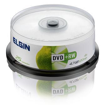 Midia DVD+ RW Elgin Veloc 4x 4,7gb 25 Unid Cake Regravavel
