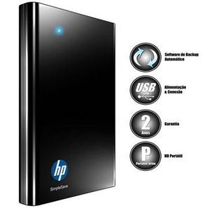 Hd Externo Hp Simple Save 500gb Usb com Backup Automático Preto