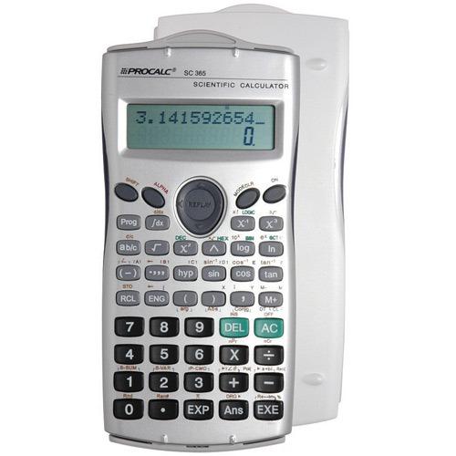 Calculadora Científica Procalc SC365 - 279 funções, 10+2 díg c/ 2a. Linha, COR PRATA, tampa móvel, cálc. integral