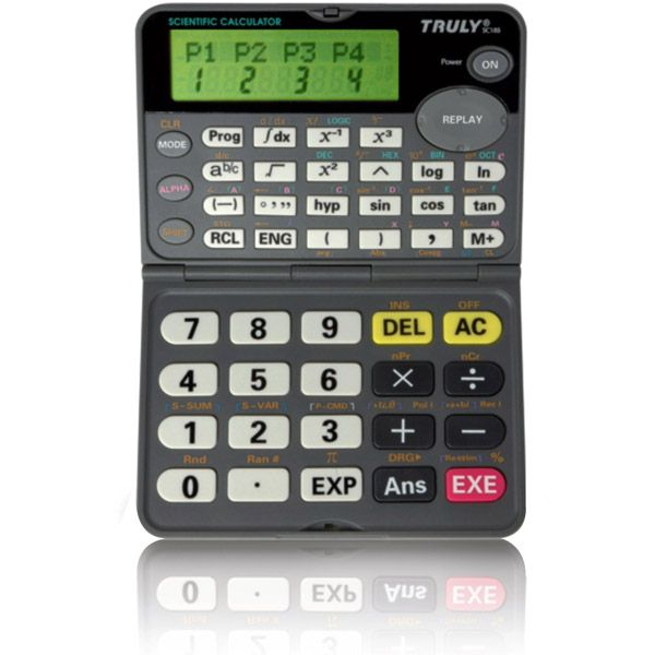 Calculadora Científica Truly SC185 - 279 funções científicas, 10+2 díg, duplo visor, integral, visor e tecla dobrável