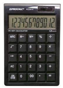 Calculadora de Mesa Procalc Pc234K 12 Díg Preta Techado Qwert Solar/Bateria G10