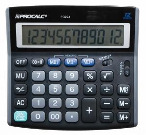 Calculadora Procalc Pc224 12 Díg Arredondamento Solar/Bateria Dupla Memória G10