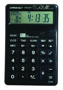 Calculadora de Mesa Procalc PC237T - 10 dígitos grandes, relógio, alarme, calendário, timer, usa pilha AAA
