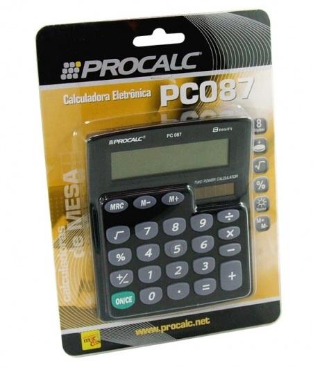 Calculadora de Mesa Procalc Pc087 8 Díg Solar/Bateria Teclado de Borracha