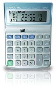 Calculadora de Mesa Procalc Pc610T 10 Díg Relógio Alarme Calendário Timer Pilha AAA