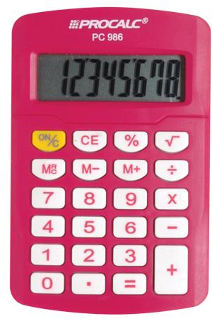 Calculadora de Bolso Procalc Pc986 Pink Royal Vivid Color 8 Dígitos Bateria G10