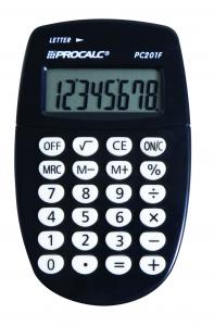 Calculadora de Bolso Procalc Pc201F 8 Díg Estilete Embutido para Cortar Envelope (G10)