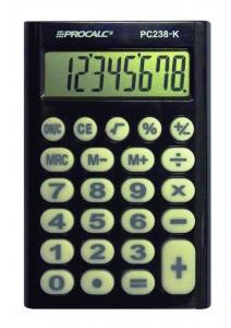 Calculadora de Bolso Procalc Pc238K 8 Díg Preta Teclado Borracha (G10)