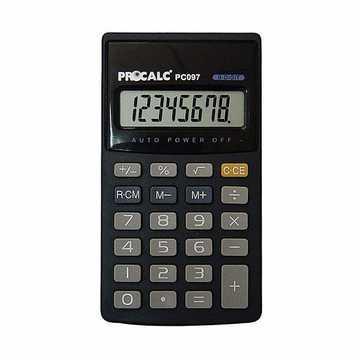 Calculadora de Bolso Procalc PC097 - 8 dígitos, teclas grandes, utiliza pilha pequena AA (AA)
