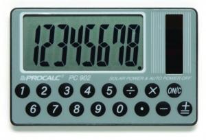 Calculadora de Bolso Procalc PC902 - 8 dígitos, formato cartão, visor HIPER GRANDE, solar