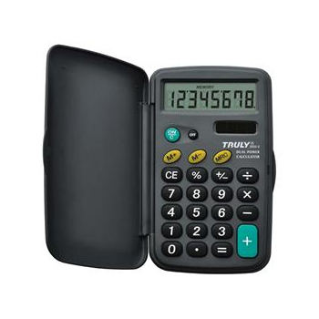 Calculadora de Bolso Truly 265A-8 8 Díg Visor Grande Capa Protetora Solar/Bateria G10
