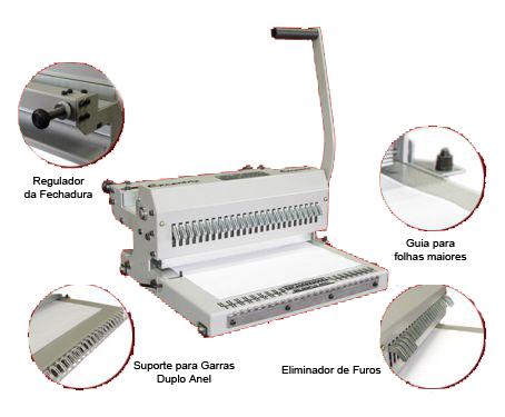 Encadernadora Excentrix Duplo Anel  CJ-OF 3X1 38 Furos , Dimensão da base 365x335M/M, capacidade de corte de 15 folhas Peso: 18,5k