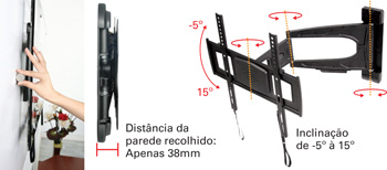Suporte bi-articulado MI-801 com inclinação para TV LCD/Plasma/LED de 26 a 42´´ - Multivisão