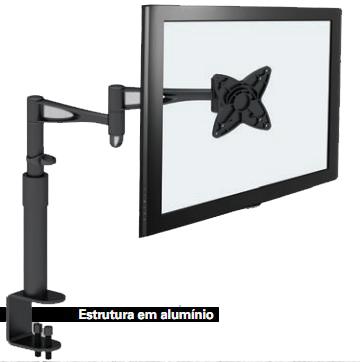 (FORA DE LINHA) Suporte de Mesa Articulado com Inclinação MI006 para Monitor LCD/LED de 10´ a 19´ - Multivisão