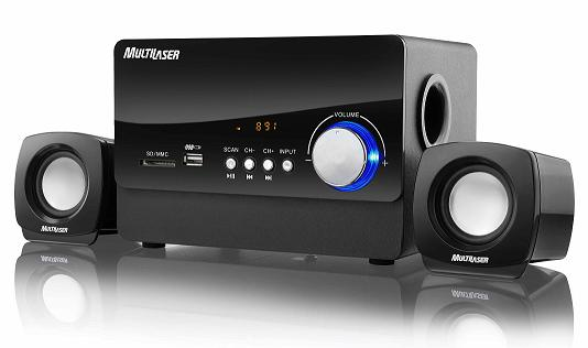 Sistema de Som 2.1 Multilaser Sp101 Music Bass Usb e Cartão Sd com Mp3 e Rádio Fm 20W Rms