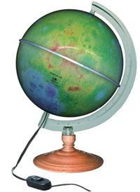 Globo Lunar Libreria Lua Colorido, 21 cm de diâmetro, base de madeira, iluminação interna 110v, principais crateras, lagos e montes da Lua.