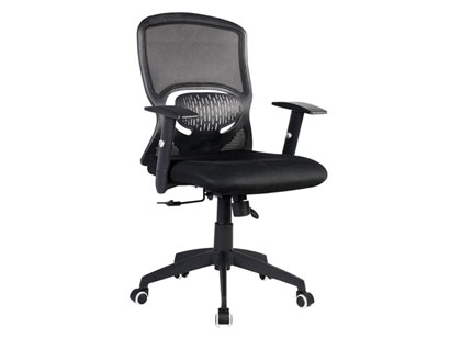 Cadeira para Escritorio com Brasão e Regulagem de Altura Preta Cad-Ergo-Pr