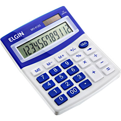 Calculadora de Mesa Elgin Mv4125 12Díg Solar/Bat G10 12,5x10x1,5cm 150g Branco/Azul