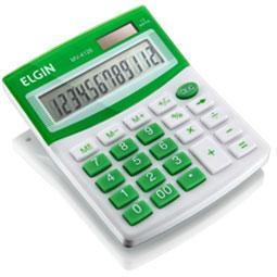 Calculadora Mesa Elgin Mv4126 12 Díg Solar/Bateria G10 12,5x10x1,5cm 150g Branco/Verde