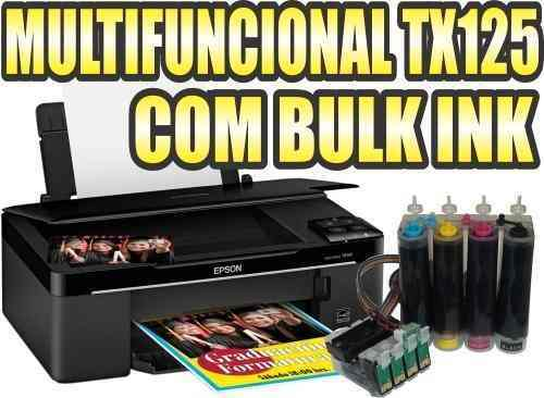Multifuncional Epson Tx125 e Bulk Ink Instalado e 400Ml Tinta Impressora Scanner Copiadora