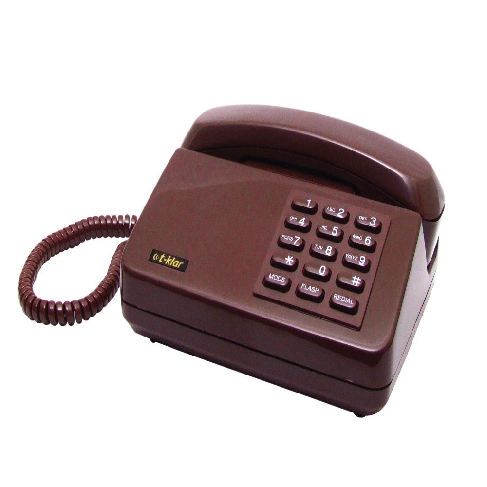 Telefone com Fio Padrão T-Klar Tk-102 Vinho Acompanha Embalagem Porta Objetos