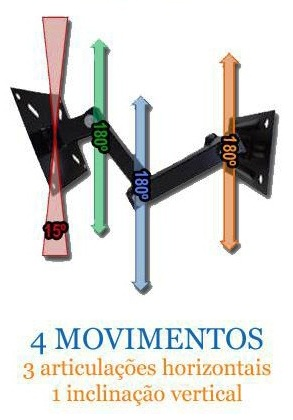Suporte Articulado para Tv Lcd/Led/Plasma Ate 32 4 Movimentos Quality Qs30