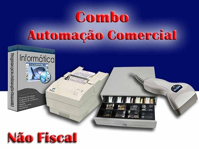 Combo para Automação Comercial Não Fiscal: Programa para loja de Informática + Leitor de Código de Barras + Impressora Matricial + Gaveteiro