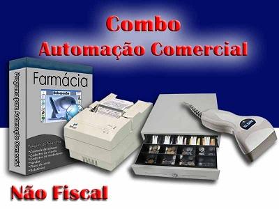Combo para Automação Comercial Não Fiscal: Programa para Farmácia + Leitor de Código de Barras + Impressora Matricial + Gaveteiro