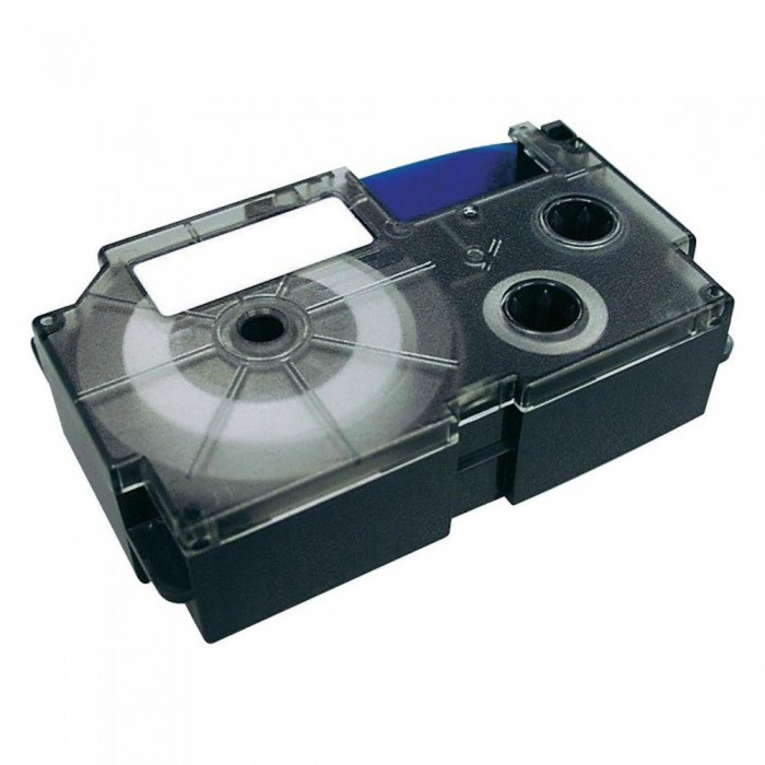 Fita Rotuladora Casio Xr-18Bu1 18mm Preto no Azul para Etiquetadora Kl