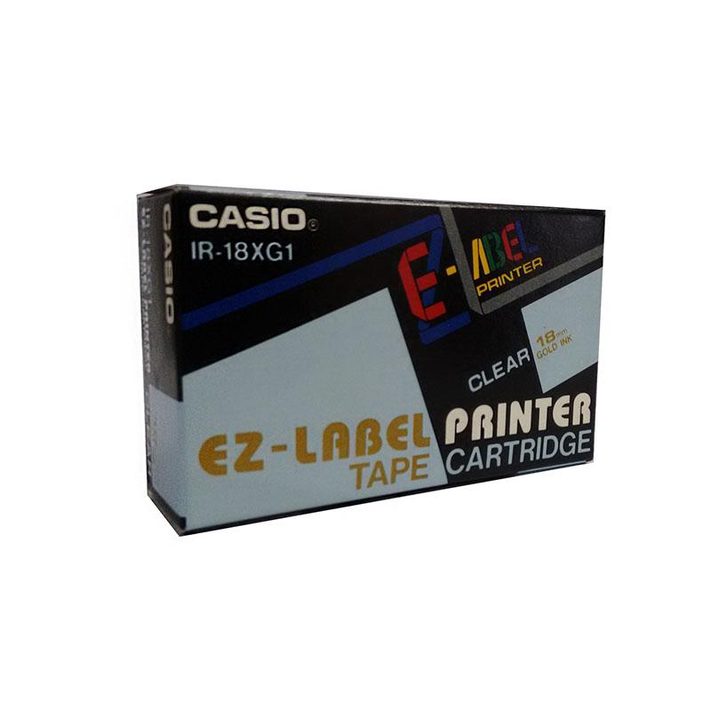 Fita Rotuladora Casio XR-18XG1 18mm dourado no transparente para etiquetadora KL