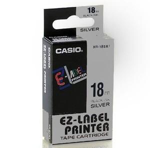Fita Rotuladora Casio Xr-18Sr1 18mm Preto no Prata para Etiquetadora Kl