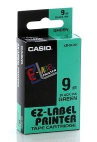 Fita Rotuladora Casio Xr-9Gn1 9mm Preto no Verde para Etiquetadora Kl
