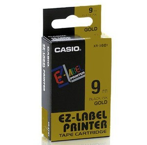 Fita Rotuladora Casio Xr-9Gd1 9mm Preto no Dourado para Etiquetadora Kl