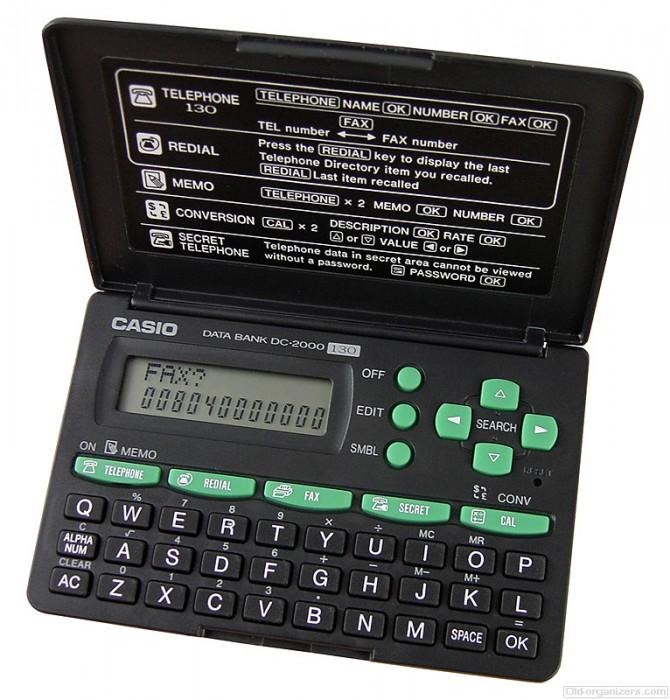 (FORA DE LINHA) Agenda Eletrônica Casio DC-2000 - 130 tel, calculadora 12 dígitos, anotações (Cod:5221)