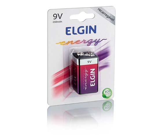 Bateria Recarregável Elgin 9V-Blister 250mAh 1unidade