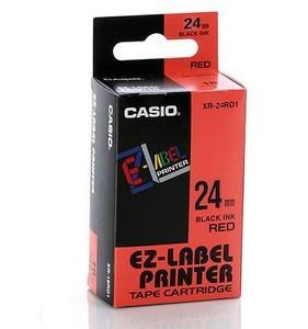 Fita Rotuladora Casio Xr-24Rd1 24mm Preto no Vermelho para Etiquetadora Kl