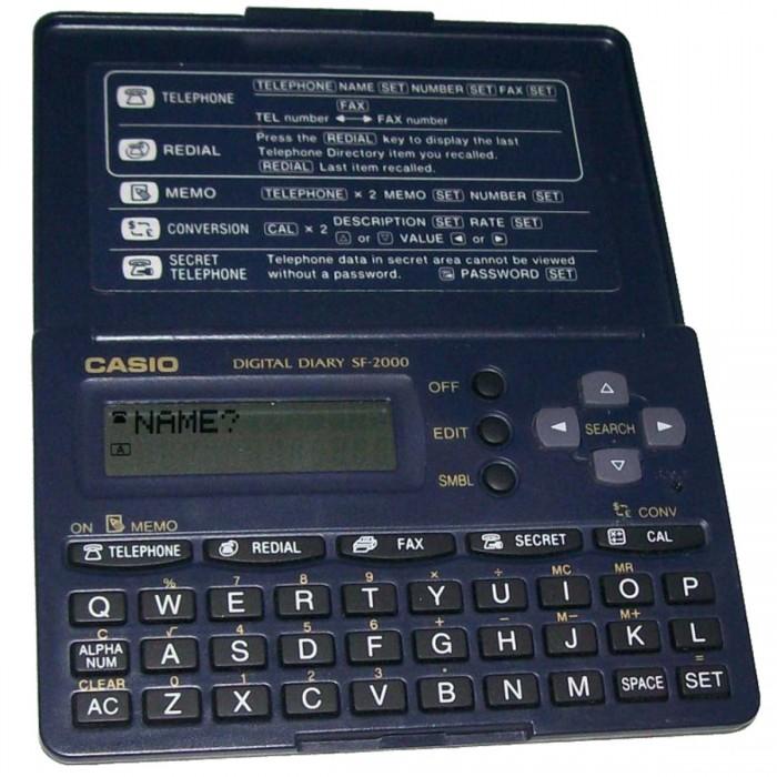 Agenda Eletrônica Casio Sf2000 para 130 Telefones Visor 12 Dígitos