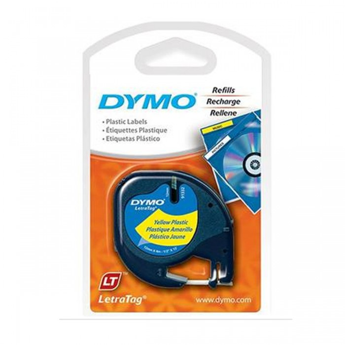 Fita Poliéster Dymo Adesiva Rotulador Letratag 12mm x 4 Mts Preto/Amarela - 91332