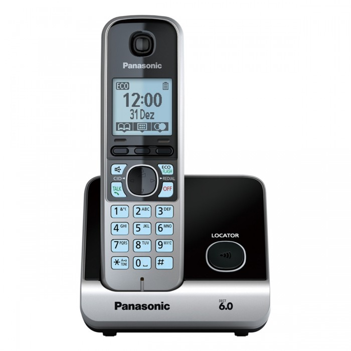 Telefone sem fio com Backup de energia Panasonic KX-TG6722LBB Combo telefone + 1 ramal, viva voz, secretária eletrônica