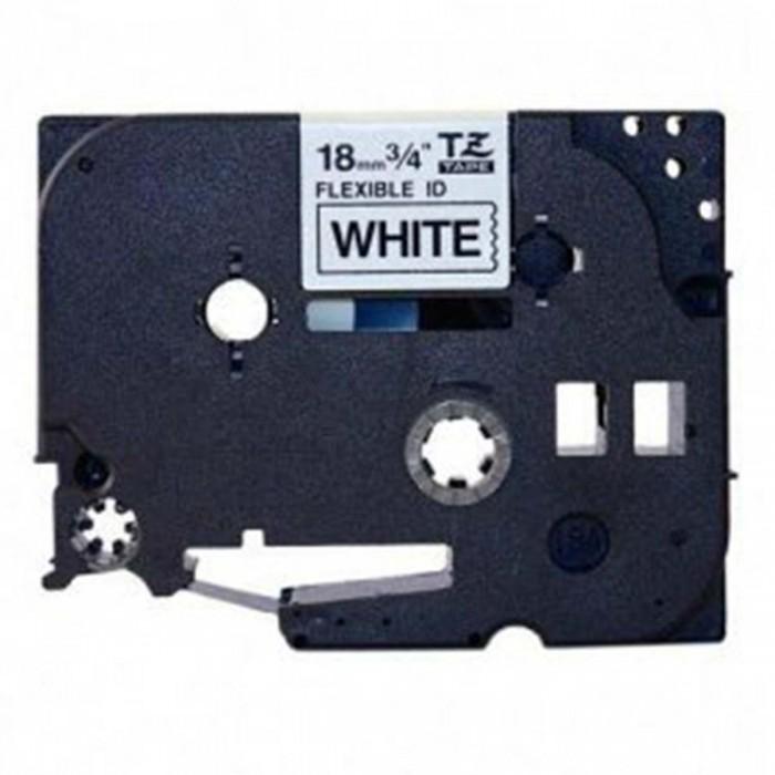 Fita Flexível Brother TZFX-241 - Largura: 18mm, Preto sobre Branco, Comprimento: 8m