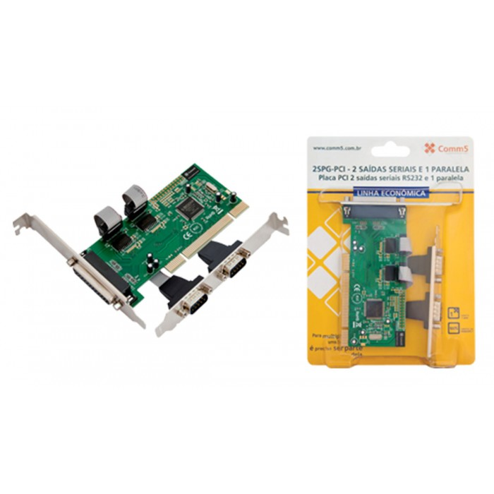 (FORA DE LINHA) Placa PCI Comm5 2SPG-PCI Linha Econômica - 2 saídas seriais RS232 e 1 paralela LPT