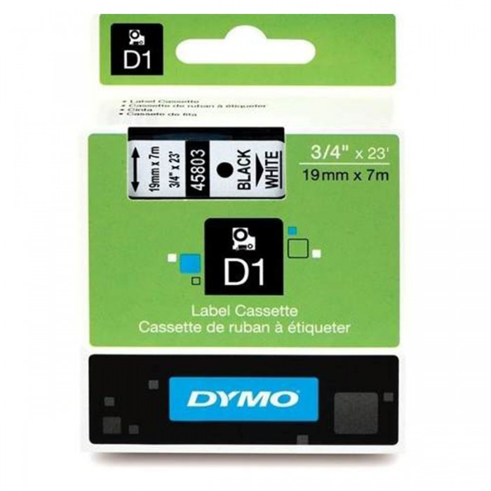 Fita Poliéster Dymo p/ Rotulador Eletrônico 19mm x 7 Mts Preto no Branco 45803
