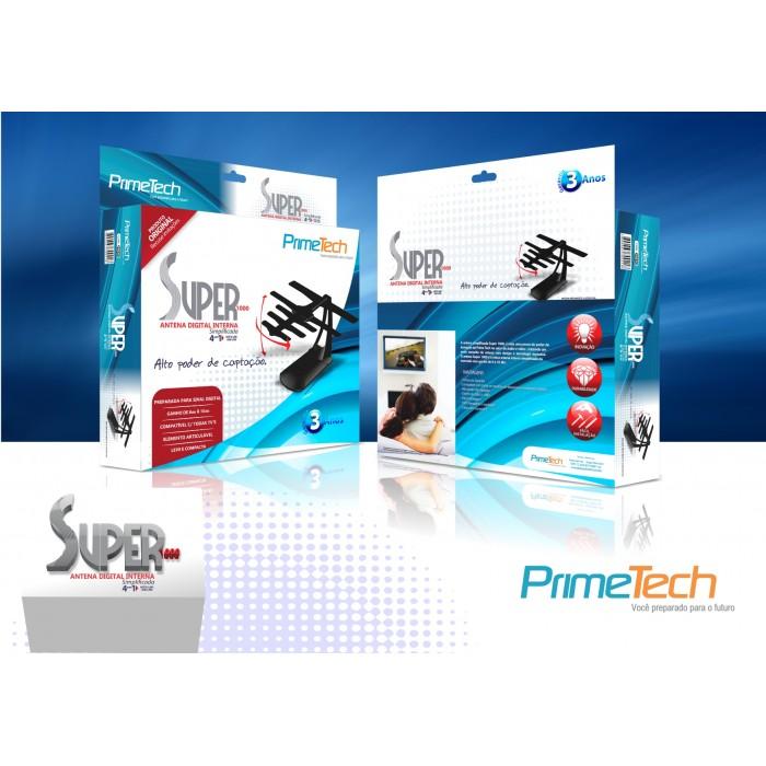 Antena Interna Digital Prime Tech Super 1000 PHD-1000 Preto 4 em 1 UHF VHF FM Digital